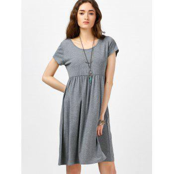 Scoop Neck High Waist Fit and Flare Dress - GRAY M