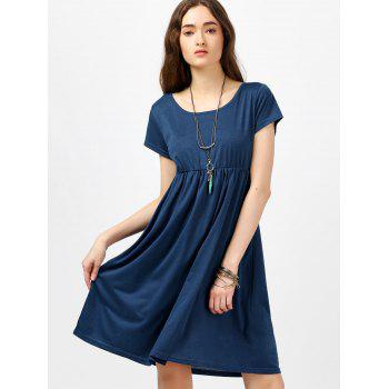 Scoop Neck High Waist Fit and Flare Dress - BLUE S
