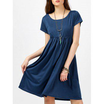 Scoop Neck High Waist Fit and Flare Dress - BLUE BLUE