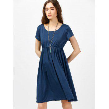 Scoop Neck High Waist Fit and Flare Dress - BLUE M