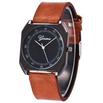 Faux Leather Bnad Number Watch - BROWN BROWN