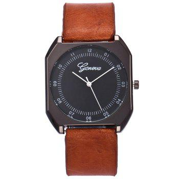 Faux Leather Bnad Number Watch -  BROWN