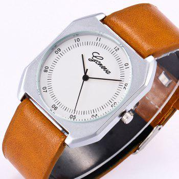 Faux Leather Bnad Number Watch -  GREEN