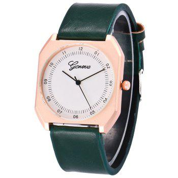 Faux Leather Bnad Number Watch - GREEN GREEN