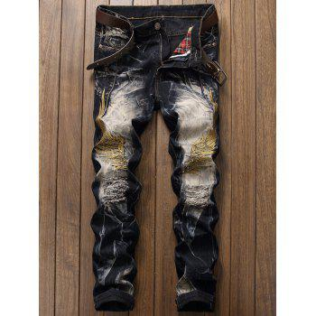 Ripped Wings Embroidery Jeans - DEEP BLUE 30