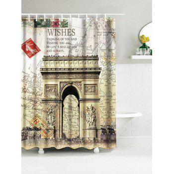 Arch of Triumph France Map Water Resistant Shower Curtain - SAND YELLOW W59 INCH * L71 INCH