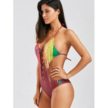 Cut Out Tie Dye One-Piece Swimwear - WINE RED 2XL