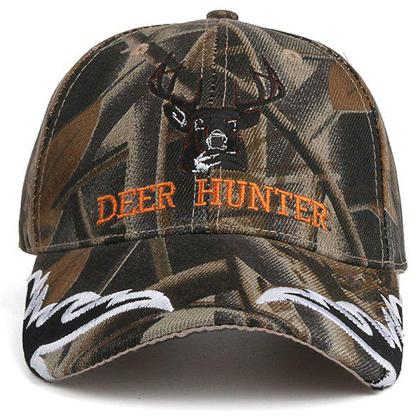 Letters Deer Head Embroidered Camo Baseball Hat - COLORMIX