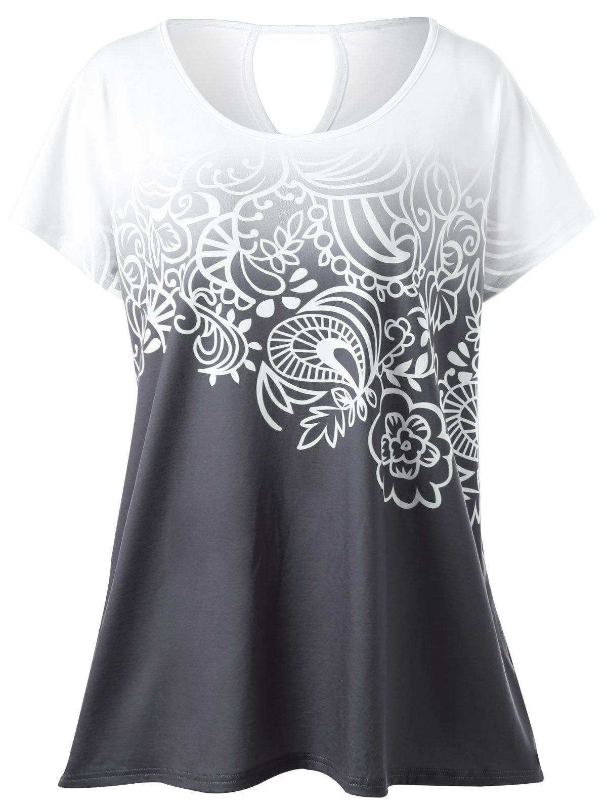 Plus Size Floral Ombre T-Shirt - WHITE GREY XL