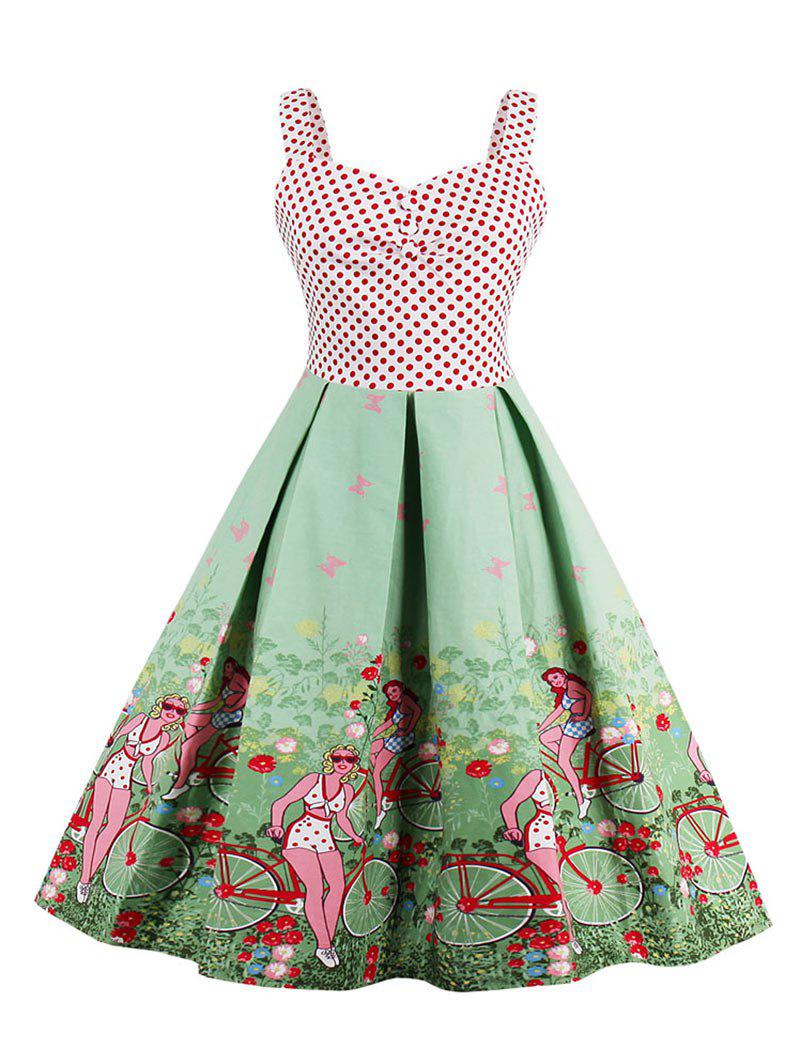 Polka Dot Scenic Print Vintage Dress - GREEN XL