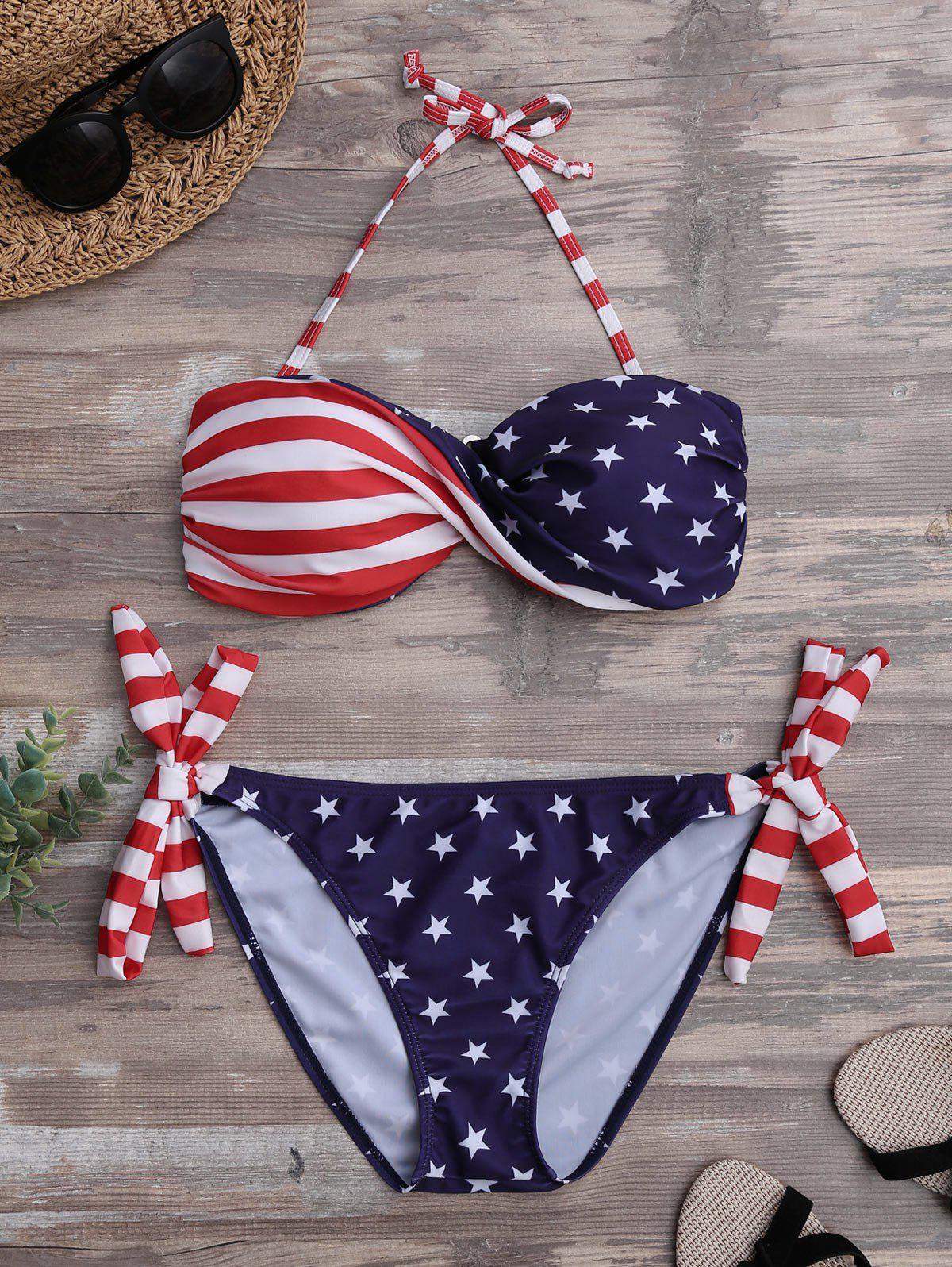 Patriotic American Flag Twist Bandeau Bikini Set patriotic american flag wrap cover up dress