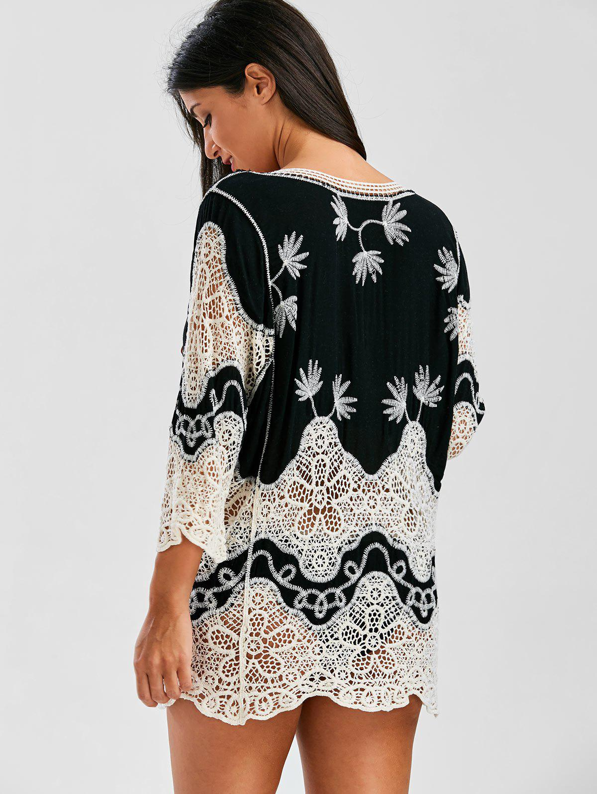 Plunge Crochet Lace Insert Beach Cover Up - BLACK ONE SIZE