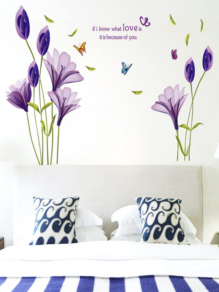 Butterflies Flowers Letter Bedroom Decorative Wall Sticker   PURPLE ...