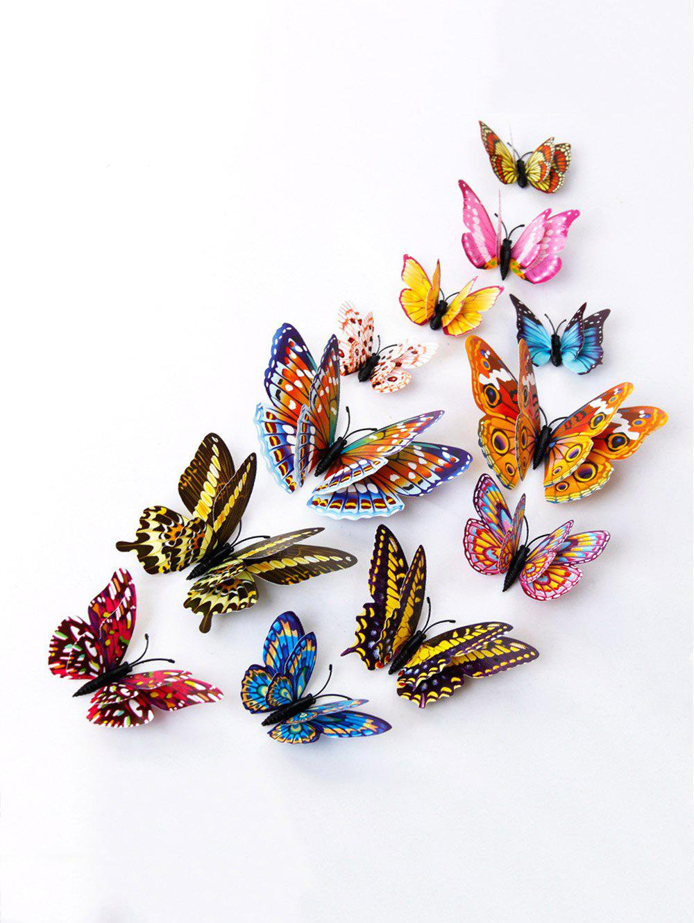 12 PCS DIY Noctilucence 3D Butterfly Wall Sticker - COLORFUL