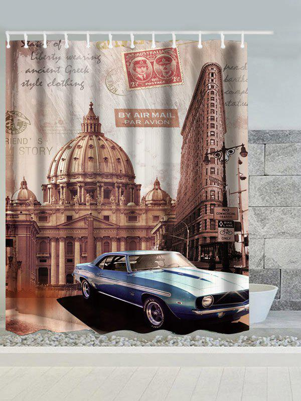 Vintage Australia Building Car Water Resistant Shower Curtain - LIGHT COFFEE W71 INCH * L79 INCH