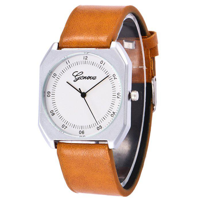 Faux Leather Bnad Number Watch - ORANGE