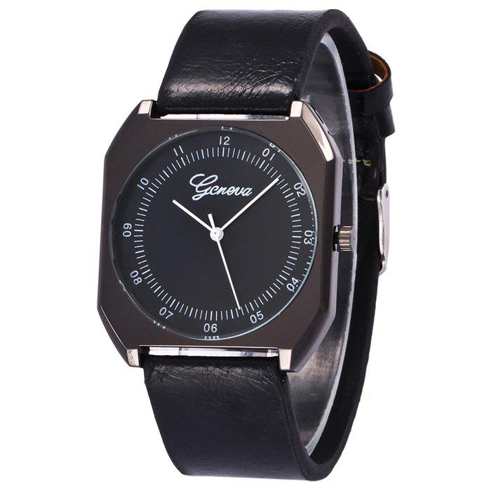 Faux Leather Bnad Number Watch, Black
