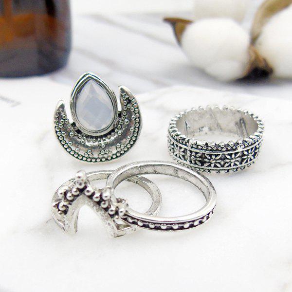 Artificial Gem Teardrop Moon Gypsy Ring Set - Argent