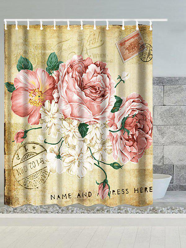 Vintage Big Flowers Waterproof Polyester Shower Curtain - LIGHT BROWN W71 INCH * L79 INCH