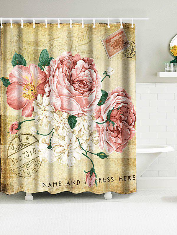 Vintage Big Flowers Waterproof Polyester Shower Curtain vintage wood grain bark waterproof shower curtain