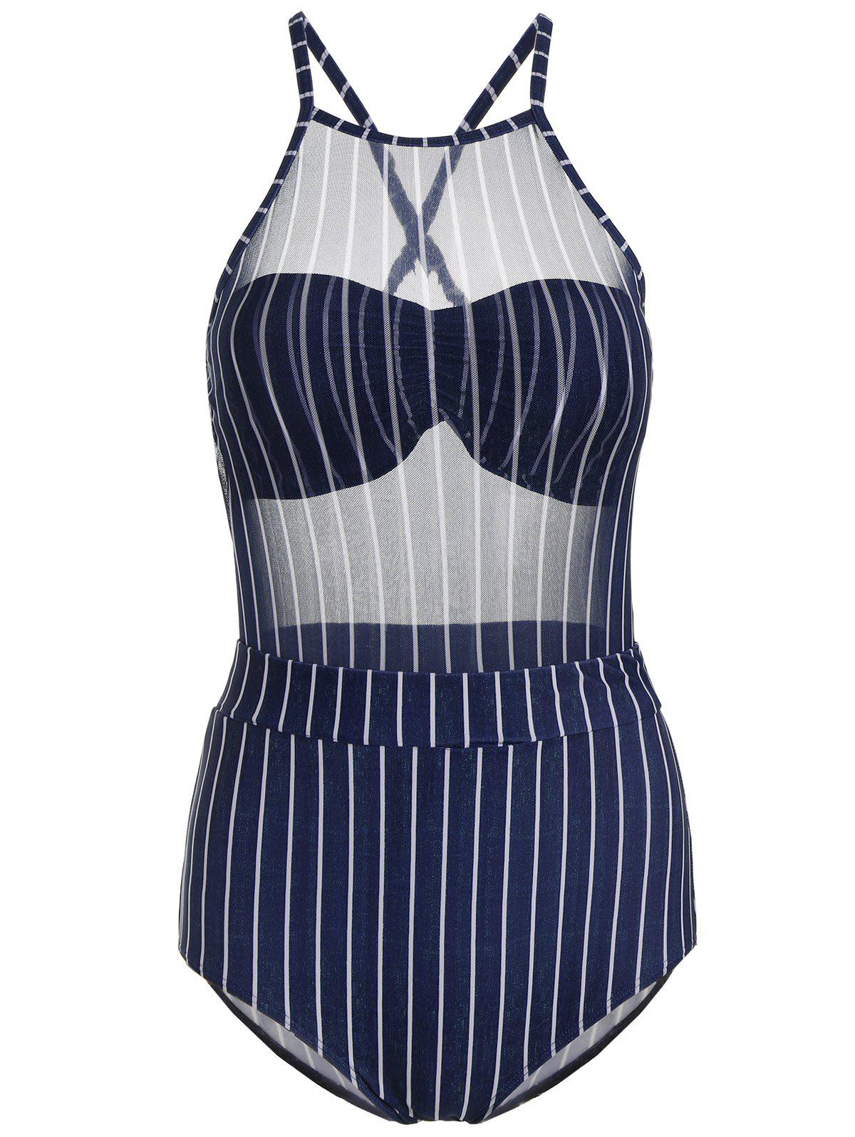Mesh Sheer Striped Underwire Swimsuit - DEEP BLUE L