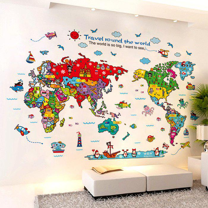 Cartoon The World Map Wall Stickers the physical world wall map material laminated