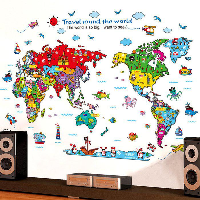 Cartoon The World Map Wall Stickers - COLORMIX