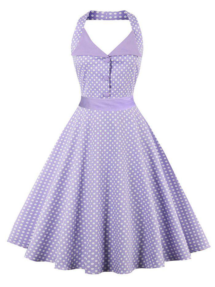Backless Polka Dot Halter Vintage Dress - LIGHT PURPLE 2XL