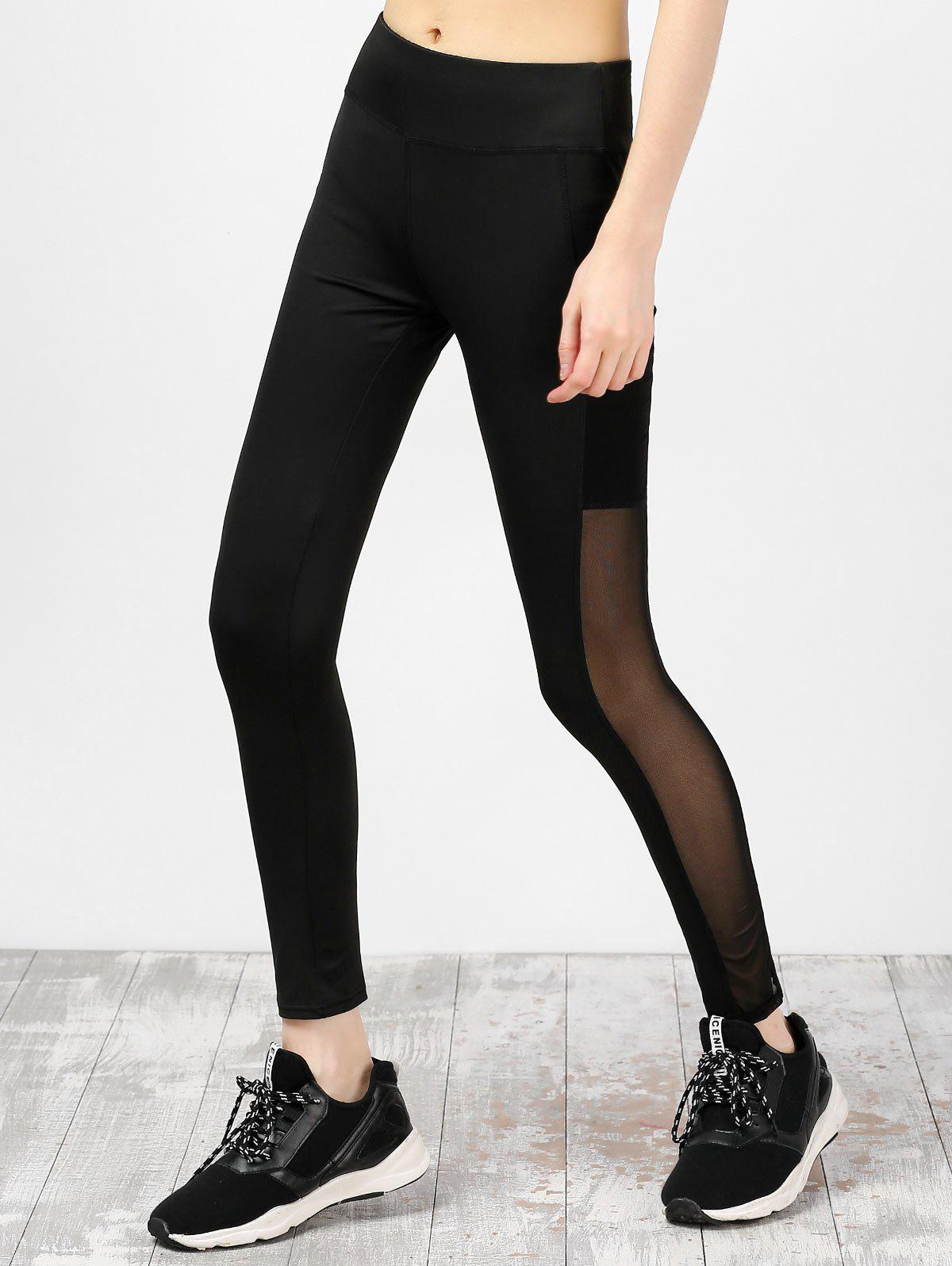 Mesh Insert High Waist Running Leggings - BLACK L