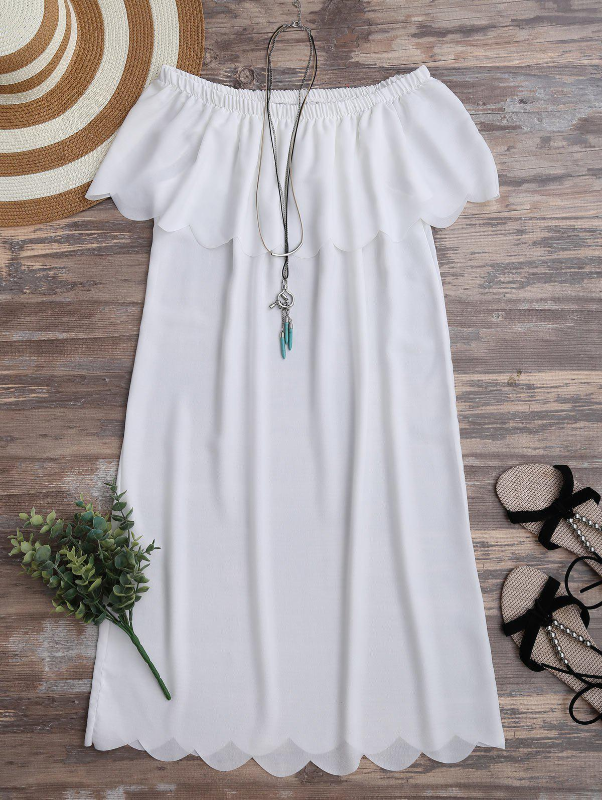 Casual Off The Shoulder Chiffon Dress - WHITE XL
