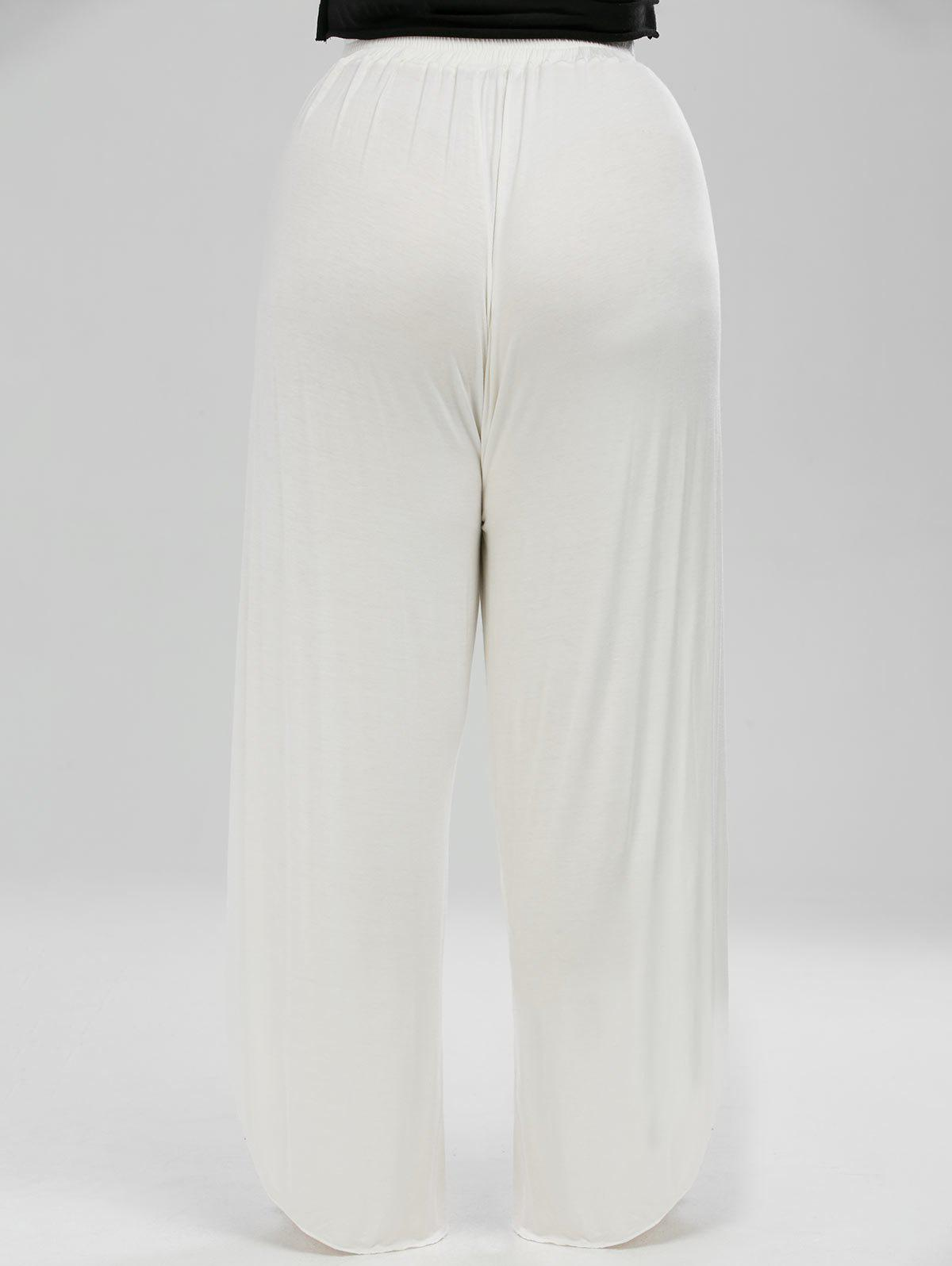 High Waisted Slit Palazzo Plus Size Pants - WHITE XL