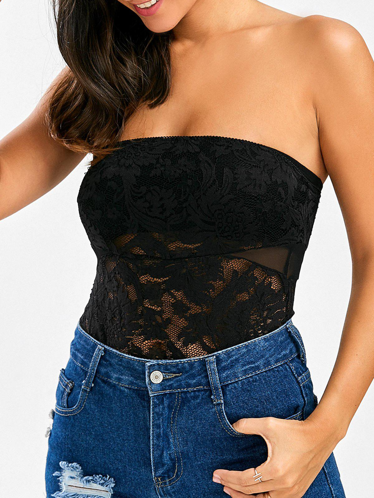 2018 see through lace tube top bodysuit black s in jumpsuits
