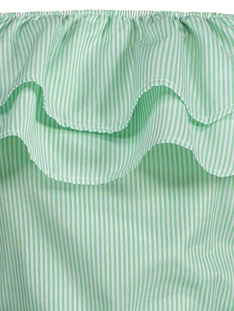 Off The Shoulder Striped Flounce Belted Dress - LIGHT GREEN XL