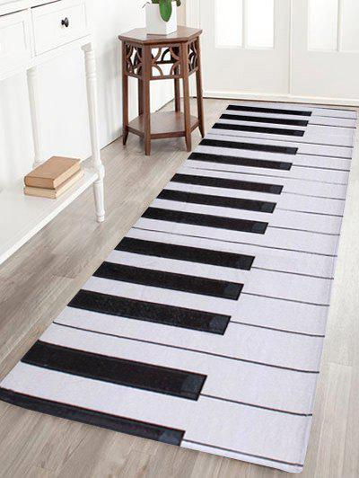 Non-slip Coral Velvet Piano Keyboard Bathroom Area Rug - BLACK WHITE W16 INCH * L47 INCH