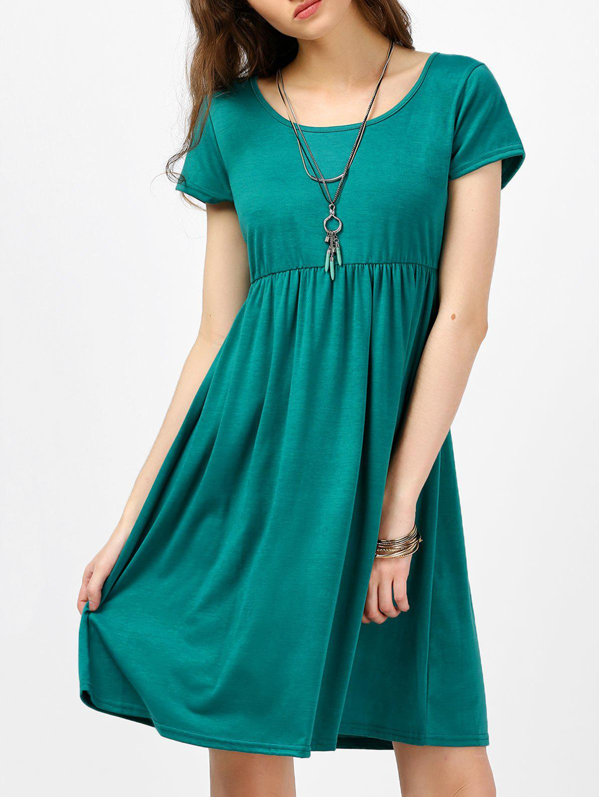 Scoop Neck High Waist Fit and Flare Dress - GREEN M