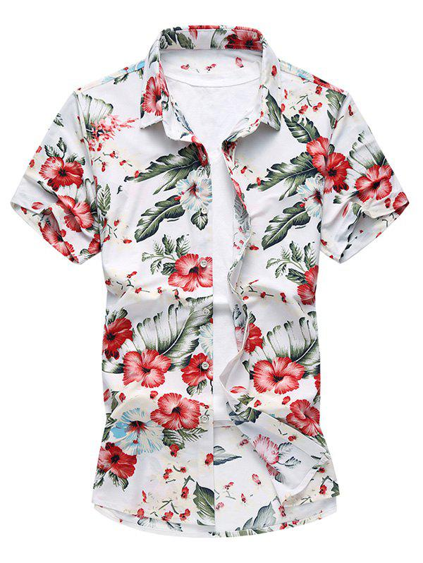 Short Sleeves Flowers Pattern Shirt - WHITE 4XL