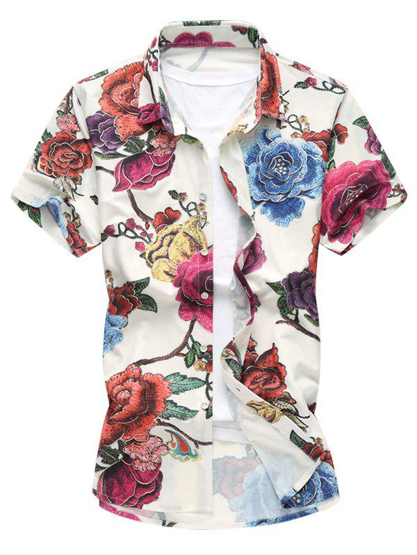 Colorful Flower Print Hawaiian Shirt - WHITE 6XL