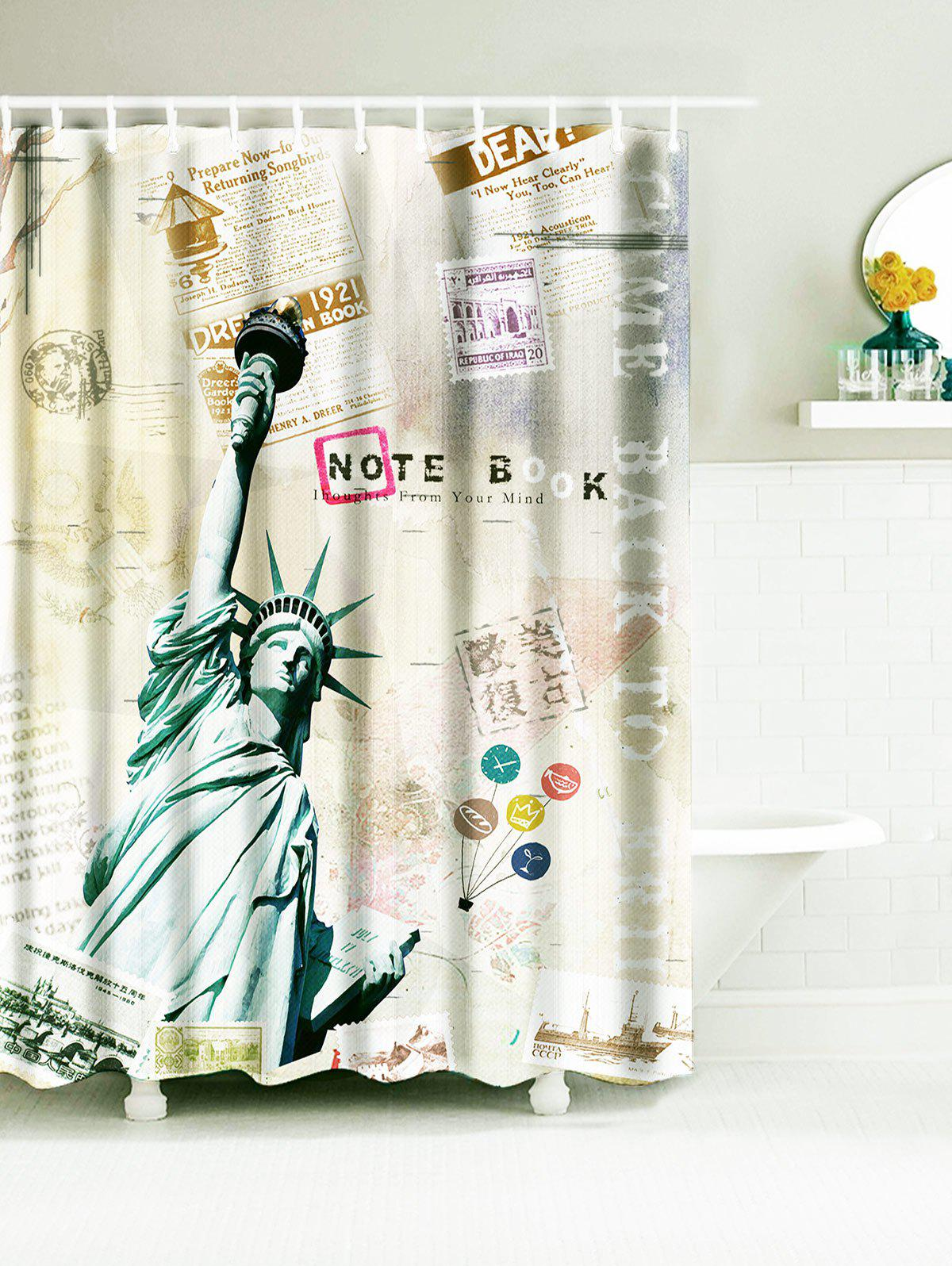 Vintage Statue of Liberty Waterproof Fabric Bath Curtain - CANDY BEIGE W71 INCH * L79 INCH