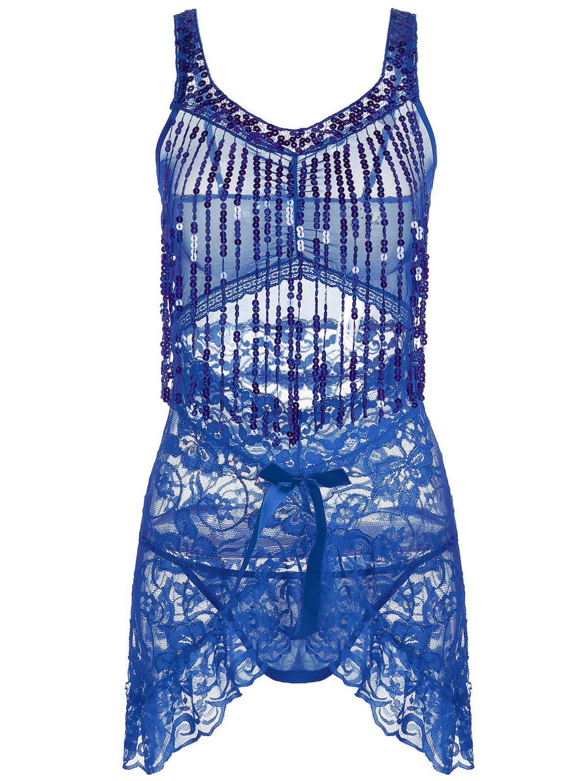 Lace Sequins Fringe Sheer Babydoll - Bleu ONE SIZE