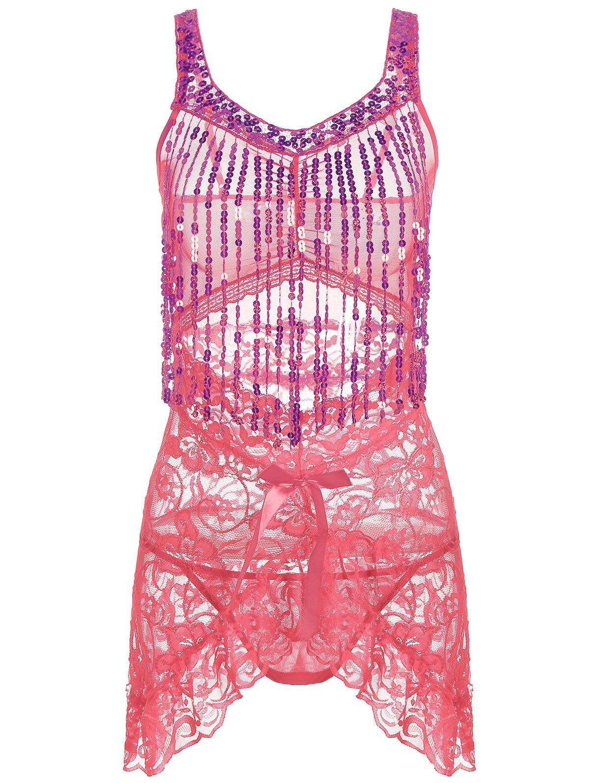 Lace Sequins Fringe Sheer Babydoll - DEEP PINK ONE SIZE