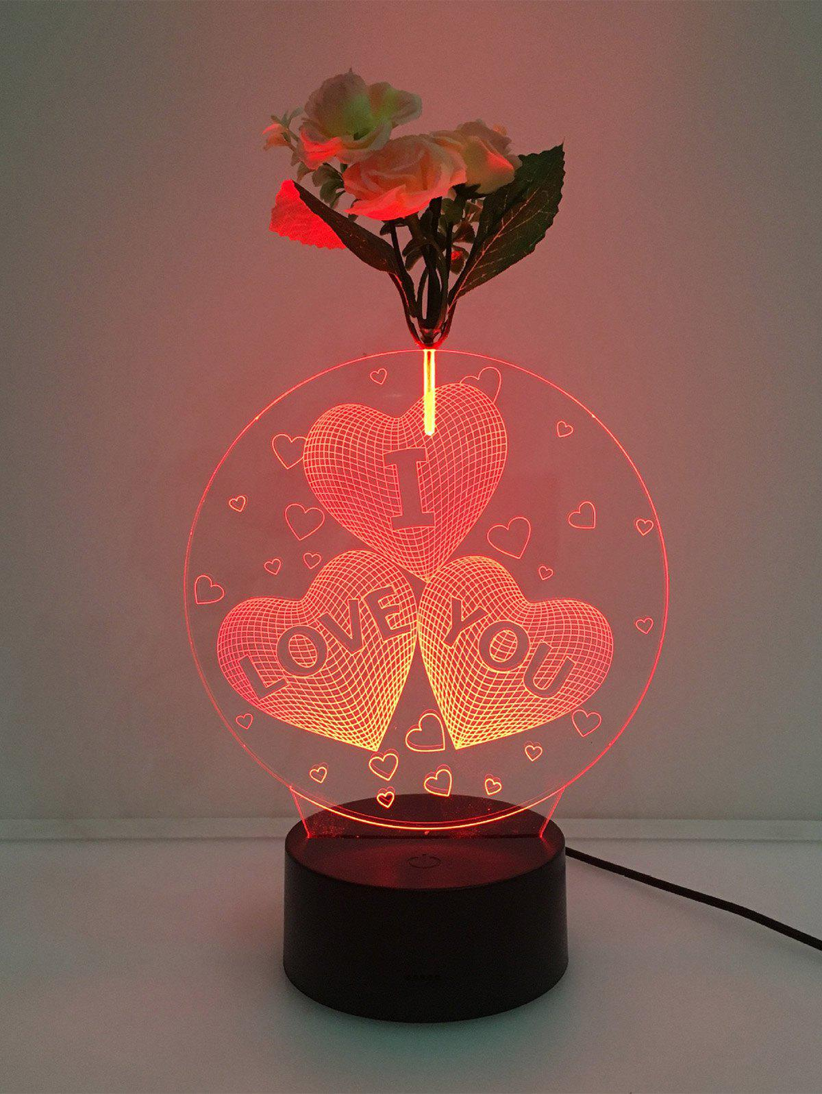 Flower Decorated 3D Heart I Love You Color Change LED Night Light - TRANSPARENT