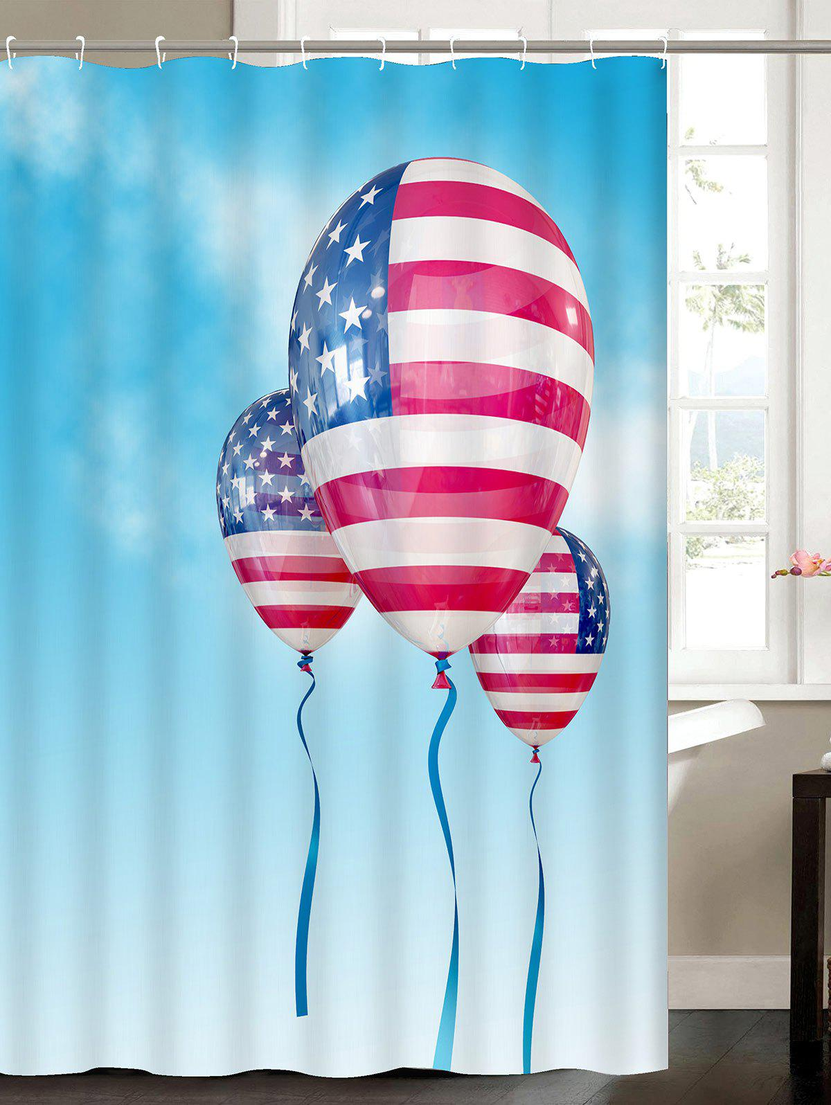 Patriotic American Flag Balloon Water Resistant Polyester Shower Curtain patriotic american flag wrap cover up dress