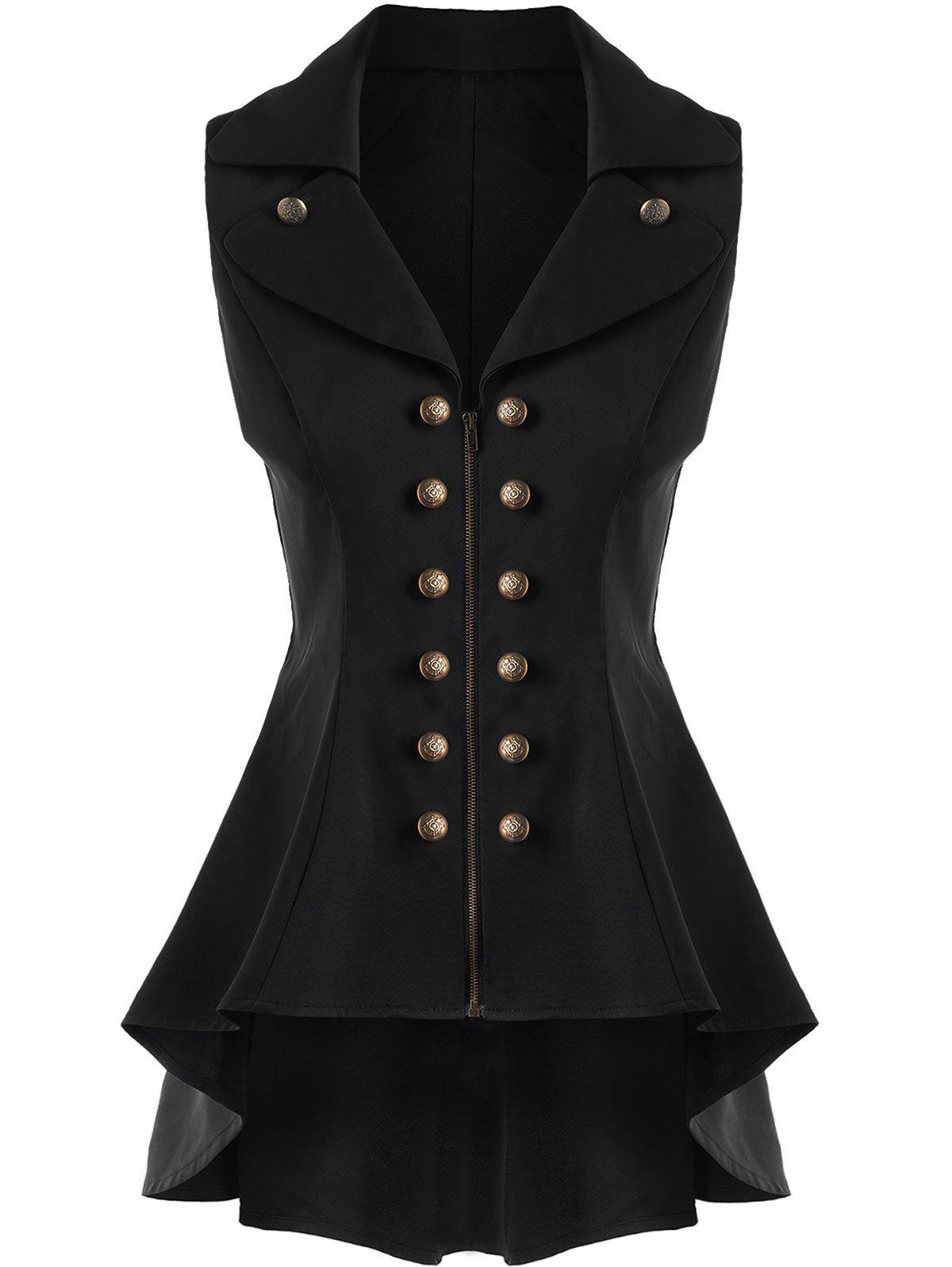 Double Breast Lapel High Low Dressy Waistcoat - BLACK L