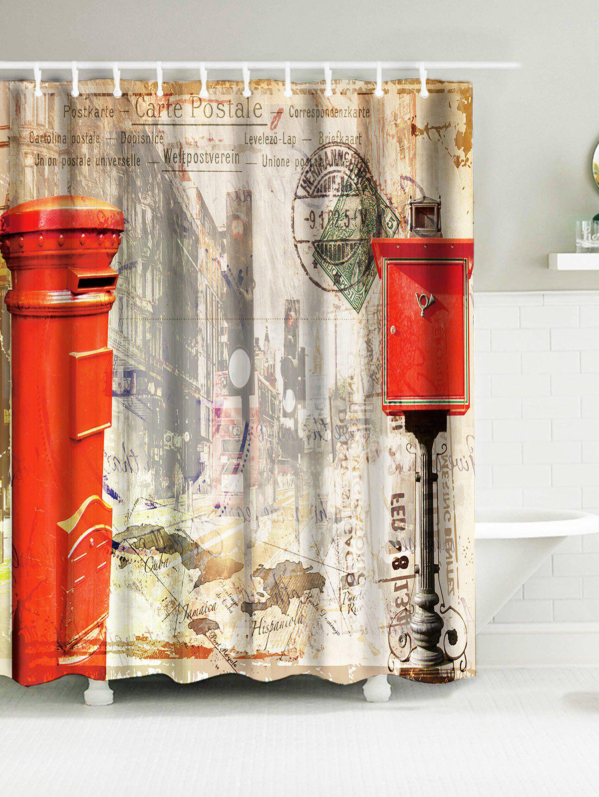 Vintage Mailbox Building Waterproof Fabric Shower Curtain vintage wood grain bark waterproof shower curtain