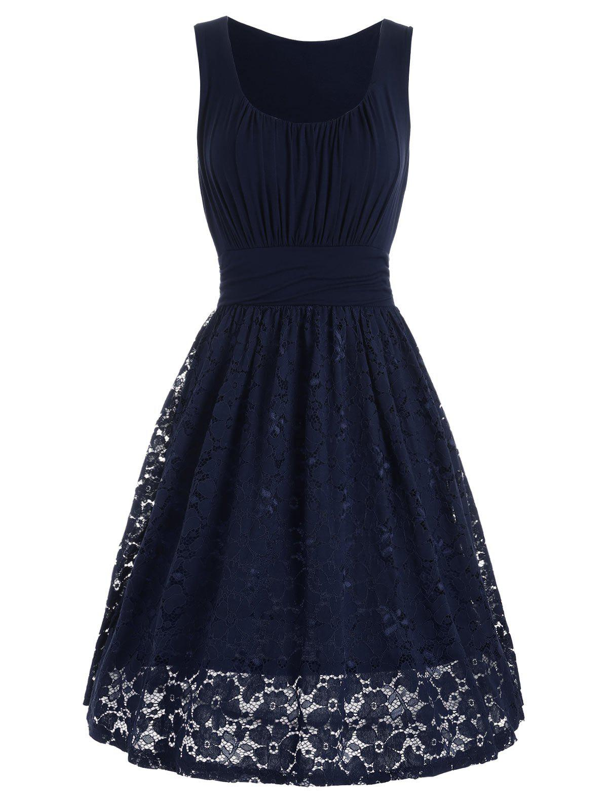 High Waist Drape Lace Panel Dress - PURPLISH BLUE S