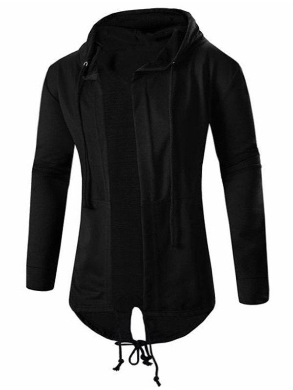 High Low Hooded Open Front Coat - BLACK M