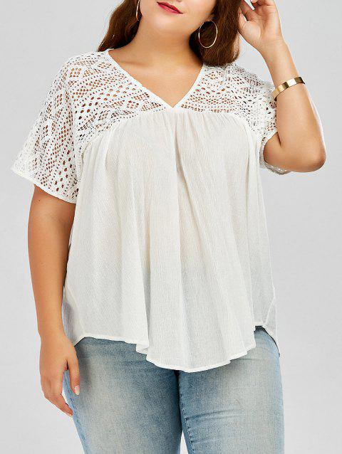 Plus Size Hollow Out Pleated Smock Blouse - WHITE 5XL