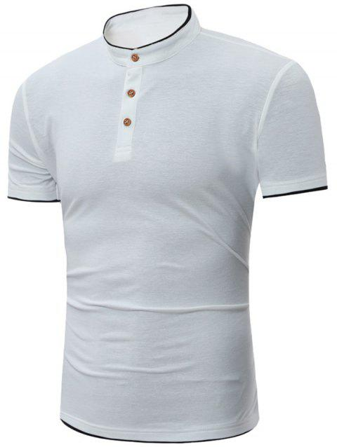 Grandad Collar Short Sleeve Polo - Blanc 4XL