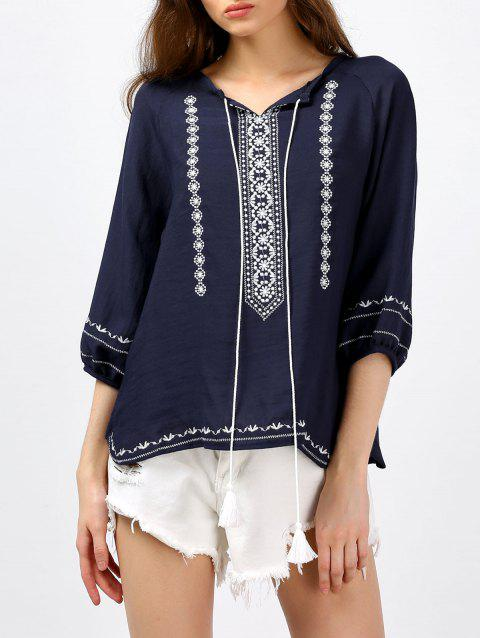 Self Tie Tassel Embroidered Blouse - PURPLISH BLUE ONE SIZE