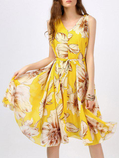 Bohemian Floral Print Swing Dress - YELLOW S